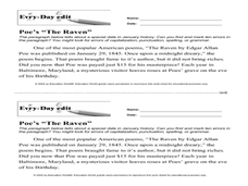 "Every Day Edit - Poe's ""The Raven"" Worksheet"