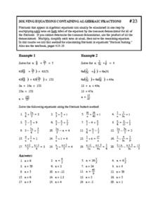 Solving Equations Containing Algebraic Fractions Worksheet For 8th
