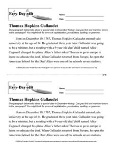 Every Day Edit - Thomas Hopkins Gallaudet Lesson Plan