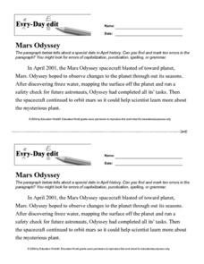 Every Day Edit - Mars Odyssey Worksheet