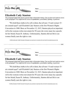 Every Day Edit - Elizabeth Cady Stanton Worksheet