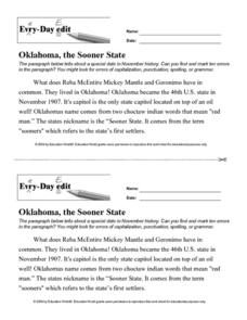 Every Day Edit - Oklahoma, the Sooner State Lesson Plan