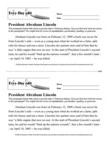Every Day Edit - President Abraham Lincoln Activities & Project