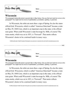 Every Day Edit - Wisconsin Worksheet