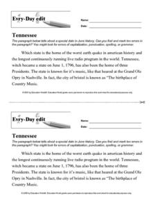 Every Day Edit - Tennessee Worksheet
