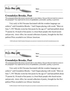 Every Day Edit - Gwendolyn Brooks, Poet Activities & Project