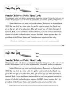 Every Day Edit - Sarah Childress Polk: First Lady Worksheet