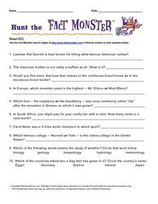 Hunt the Fact Monster Hunt #22 Worksheet