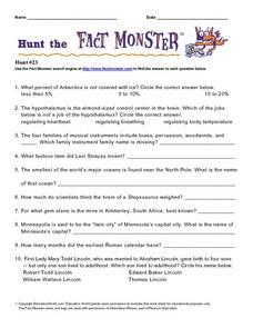 Hunt the Fact Monster Hunt #23 Worksheet