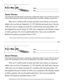 Every Day Edit - Jesse Owens Worksheet