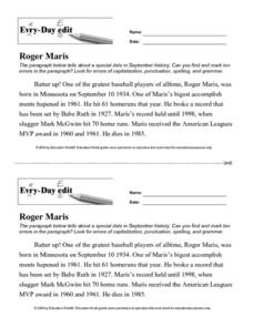 Every Day Edit - Roger Maris Lesson Plan