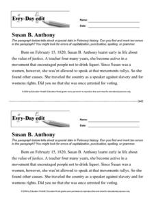 Susan B. Anthony | Worksheet | Education.com