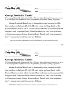 Every Day Edit - George Frederick Handel Worksheet