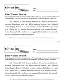 Every Day Edit - First Woman Dentist Worksheet