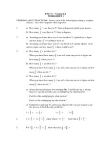 Unit II - Version 6.0 - Worksheet 1 - Fractions Worksheet