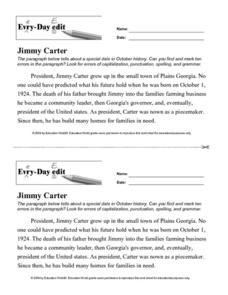 Every Day Edit - Jimmy Carter Worksheet