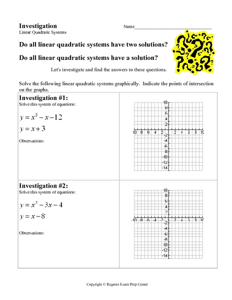 Investigation Linear Quadratic Systems Worksheet For 9th 12th