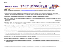 Hunt the Fact Monster Hunt #11 Worksheet