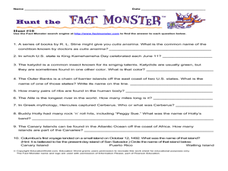 Hunt the Fact Monster #10 Worksheet
