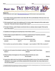 Hunt the Fact Monster Hunt #14 Worksheet