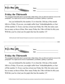 Every Day Edit - Friday the Thirteenth Lesson Plan