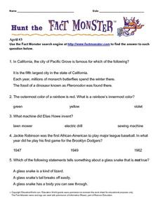 Hunt the Fact Monster: April #3 Worksheet