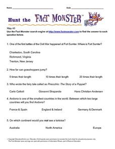 "Internet Hunt at the ""Fact Monster"" Web Site- May #3 Worksheet"