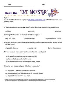 "Internet Fact Hunt at the ""Fact Monster"" Web Site- April #4 Worksheet"
