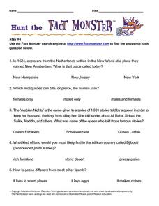 "Internet Fact Hunt at the ""Fact Monster"" Web Site- May #4 Worksheet"