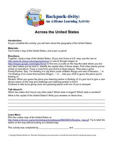 Across the United States- Home Learning Activity Worksheet