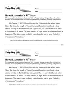 Every Day Edit - Hawaii, American's 50th State Worksheet