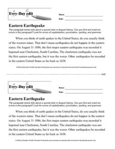 Every Day Edit - Eastern Earthquake Worksheet