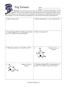 Trig Twisters Worksheet