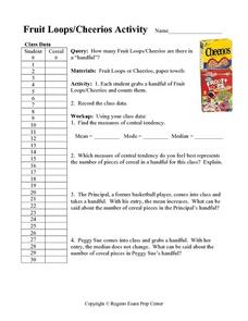 Fruit Loops/Cheerios Activity:  Measures of Central Tendency Worksheet