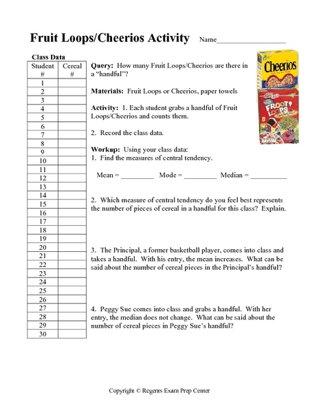Fruit Loops/Cheerios Activity: Measures of Central Tendency ...