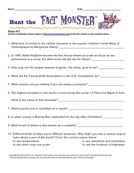 "Internet Fact Hunt at the ""Fact Monster"" Web Site- Hunt #33 Worksheet"