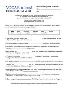 Vocab-u-lous! Build a Fabulous Vocab: Words Beginning with SL Worksheet