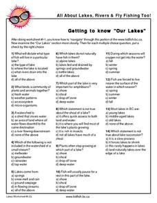 "Getting to Know ""Our Lakes"" Worksheet"