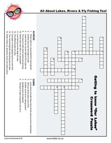 """Our Lakes"" Crossword Worksheet"