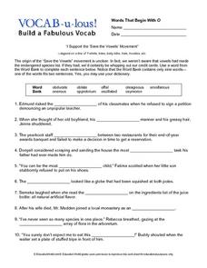 Vocab-u-lous! Build a Fabulous Vocab: Words Beginning with O Worksheet