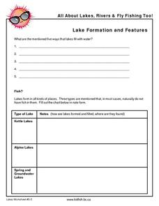 Lake Formation and Features Worksheet