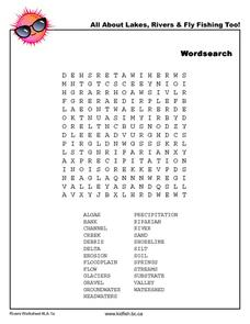 Lake Word Search Worksheet