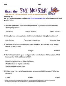 "Hunt the ""Fact Monster"" to Answer Multiple Choice Questions Worksheet"
