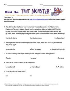 "Hunt the ""Fact Monster"" to Answer Multiple Choice Questions- November #4 Lesson Plan"