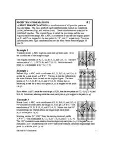 Rigid Transformations Worksheet for 8th - 10th Grade | Lesson Planet