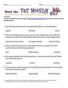 Hunt the Fact Monster (Extra #2) Worksheet