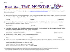 Hunt the Fact Monster (Extra #1) Worksheet