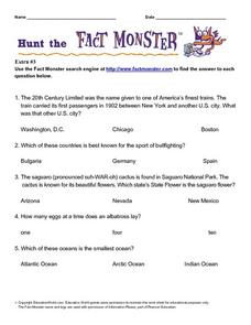 Hunt the Fact Monster (Extra #3) Worksheet