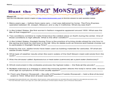 Hunt the Fact Monster (Hunt #2) Worksheet