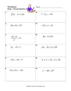 Bingo - Solving Equations Worksheet